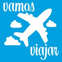 Stencil Avião, Vamos Viajar 14x14..