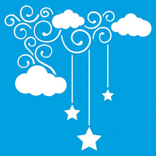 Stencil Nuvens e Estrelas 14x14 cm