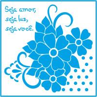 Stencil Cantoneiras Flores - 14x14..