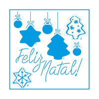 Stencil Natal - Feliz Natal e Enfeites -..