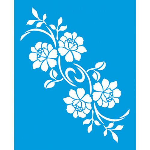 Stencil Arranjo de Flores e Folhas  - 17x21
