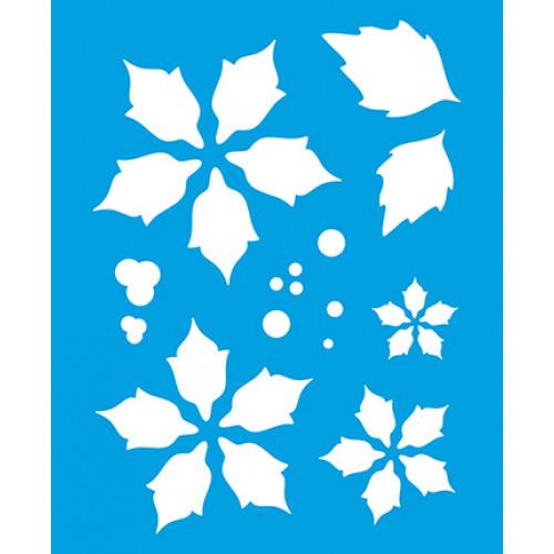Stencil Natal - Poinsétias Sobreposição 17x21