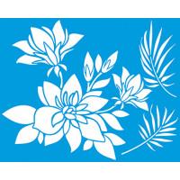 Stencil Arranjo de Magnolias e Folhas - ..