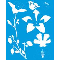 Stencil Hibiscos e Folhas - Sobreposição..