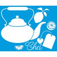 Stencil Chá, chaleira e limões - 20x25 c..