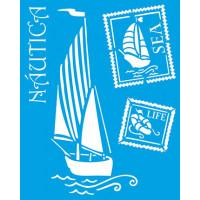 Stencil Náutico: Barco a vela e selos - ..