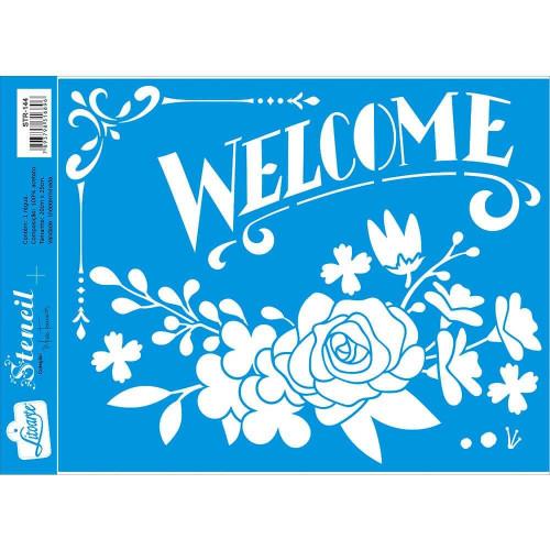 Stencil Welcome e Flores - Sobreposição - 20x25 cm