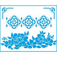 Stencil Arabescos, Rosas, Cantoneiras - ..
