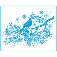 Stencil Natal - Pássaro Cardeal - 20x25 ..