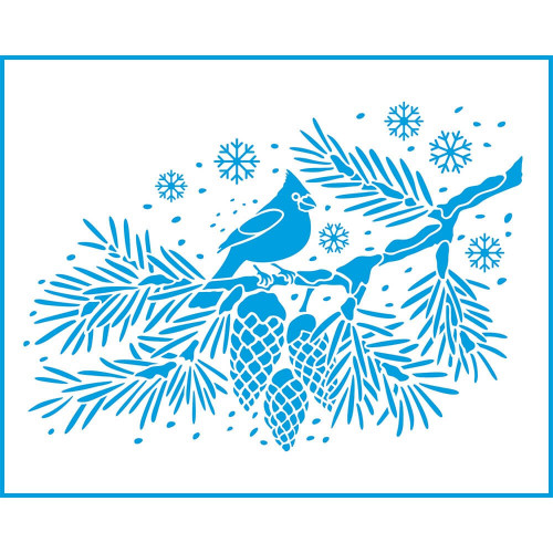 Stencil Natal - Pássaro Cardeal - 20x25 cm