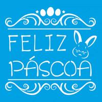 Stencil feliz páscoa arabesco e coelho 2..