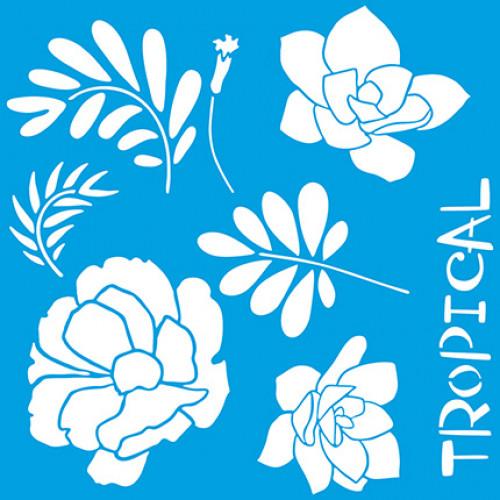 Stencil flores e suculentas tropicais - 20x20 cm
