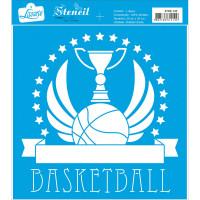 Stencil Emblema basquetebol - 20x20 cm..