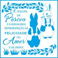 Stencil Folhas Tropicais - Coelho, Frase..