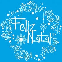 Stencil Natal - Guirlanda Feliz Natal 20..