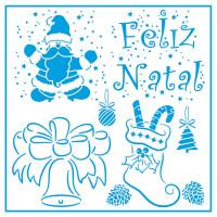 Stencil Natal - Feliz Natal e Desenhos -..