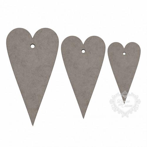 Kit Com 3 Tags Coração - Em Chipboard - 29PP  - Chipboard