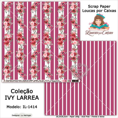 Scrap Paper Dupla Face 30,5x30,5cm IL-1414 - Loucas Por Caixas - Coleção Ivy Lárrea