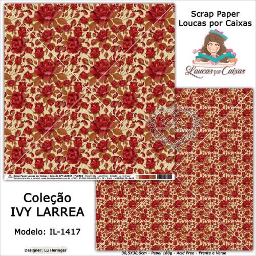 Scrap Paper Dupla Face 30,5x30,5cm IL-1417 - Loucas Por Caixas - Coleção Ivy Lárrea