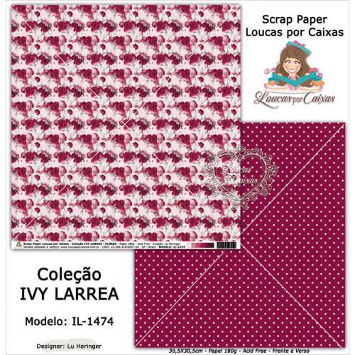 Scrap Paper Dupla Face 30,5x30,5cm IL-1474 - Loucas Por Caixas - Coleção Ivy Lárrea