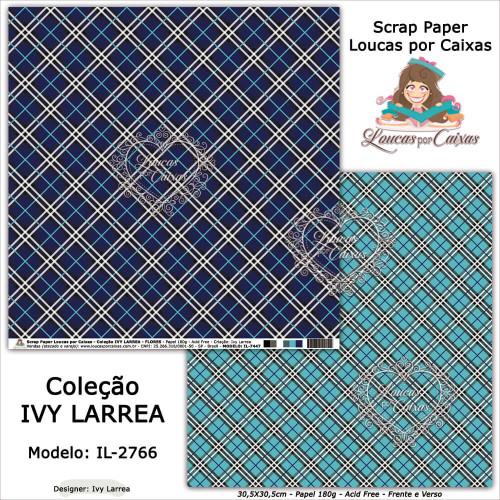 Scrap Paper Dupla Face 30,5x30,5cm IL-2766 - Loucas Por Caixas - Coleção Ivy Lárrea