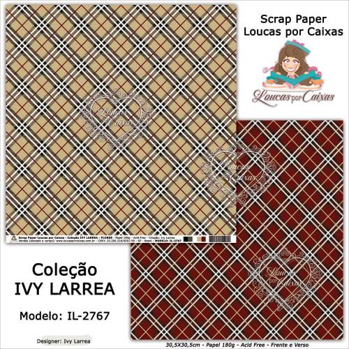 Scrap Paper Dupla Face 30,5x30,5cm IL-2767 - Loucas Por Caixas - Coleção Ivy Lárrea