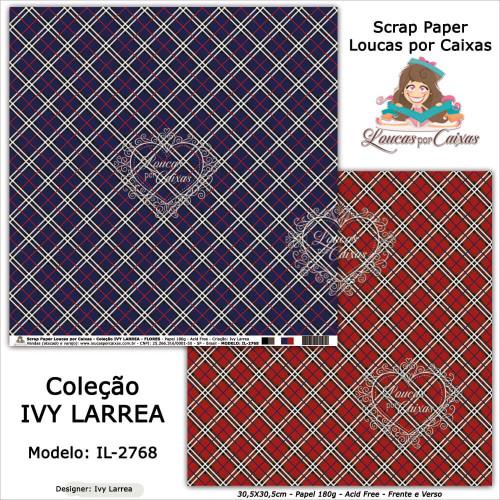 Scrap Paper Dupla Face 30,5x30,5cm IL-2768 - Loucas Por Caixas - Coleção Ivy Lárrea