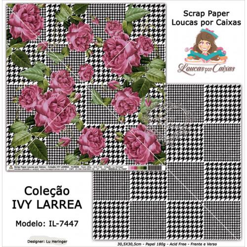 Scrap Paper Dupla Face 30,5x30,5cm IL-7447 - Loucas Por Caixas - Coleção Ivy Lárrea