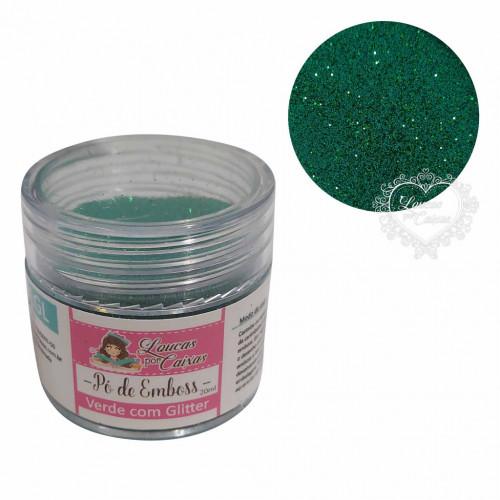 Pó para emboss Verde com Glitter Loucas por Caixas - 20ml