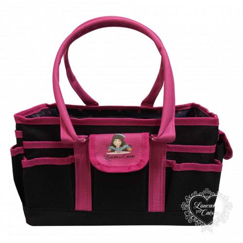 Bolsa Organizadora Preta/Pink Quadrada G - edição especial