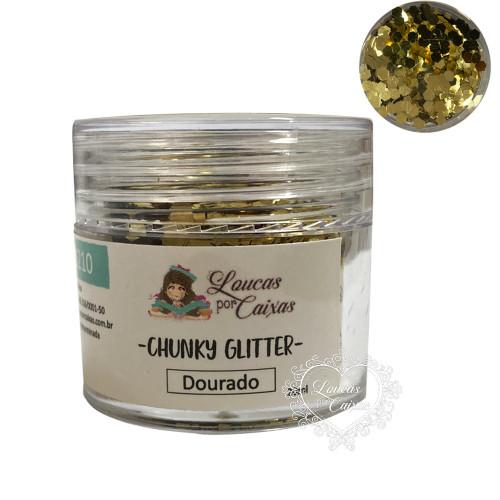 Chunky Glitter Dourado Loucas por Caixas