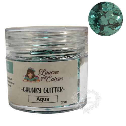 Chunky Glitter Aqua Loucas por Caixas