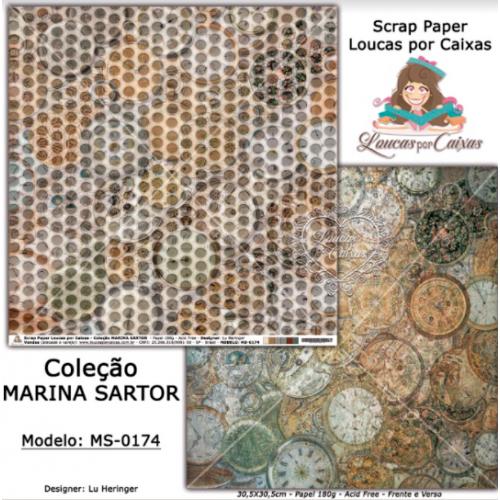 Scrap Paper Dupla Face 30,5x30,5cm MS-0174 - Loucas Por Caixas - Coleção Marina Sartor
