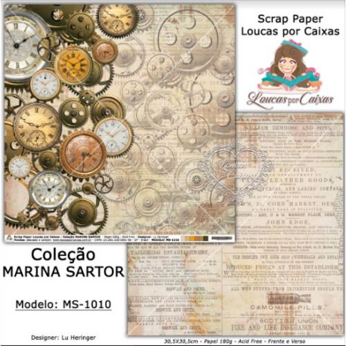 Scrap Paper Dupla Face 30,5x30,5cm MS-1010 - Loucas Por Caixas - Coleção Marina Sartor