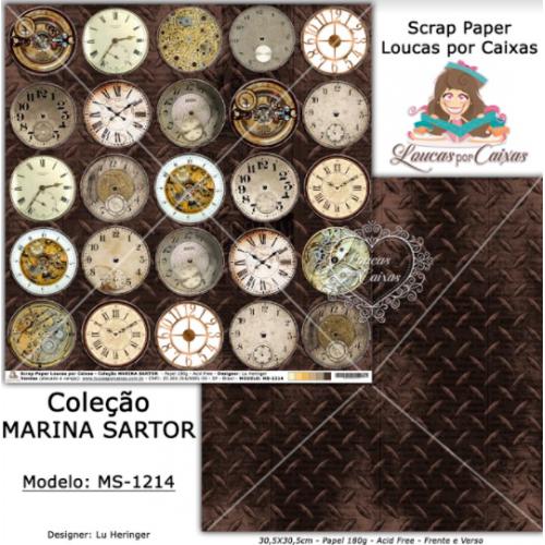 Scrap Paper Dupla Face 30,5x30,5cm MS-1214 - Loucas Por Caixas - Coleção Marina Sartor