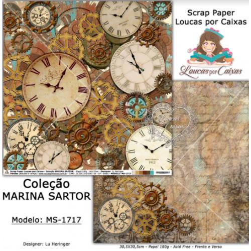Scrap Paper Dupla Face 30,5x30,5cm MS-1717 - Loucas Por Caixas - Coleção Marina Sartor