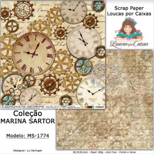 Scrap Paper Dupla Face 30,5x30,5cm MS-1774 - Loucas Por Caixas - Coleção Marina Sartor