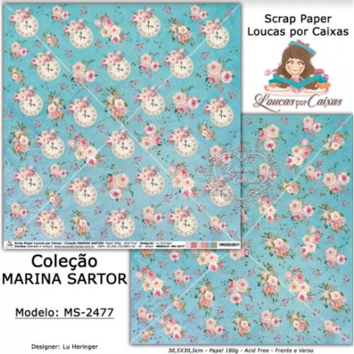 Scrap Paper Dupla Face 30,5x30,5cm MS-2477 - Loucas Por Caixas - Coleção Marina Sartor