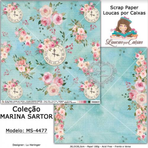 Scrap Paper Dupla Face 30,5x30,5cm MS-4477 - Loucas Por Caixas - Coleção Marina Sartor