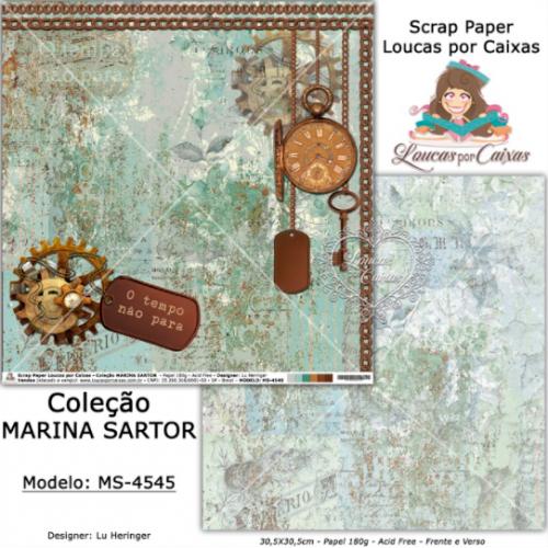 Scrap Paper Dupla Face 30,5x30,5cm MS-4545 - Loucas Por Caixas - Coleção Marina Sartor