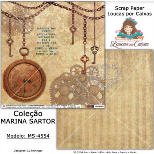 Scrap Paper Dupla Face 30,5x30,5cm MS-4554 - Loucas Por Caixas - Coleção Marina Sartor