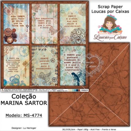 Scrap Paper Dupla Face 30,5x30,5cm MS-4774 - Loucas Por Caixas - Coleção Marina Sartor