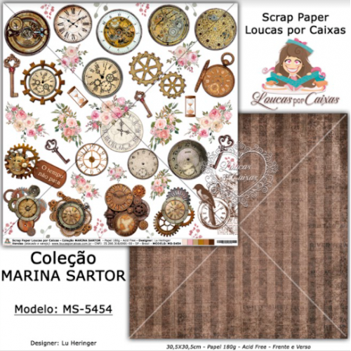 Scrap Paper Dupla Face 30,5x30,5cm MS-5454 - Loucas Por Caixas - Coleção Marina Sartor