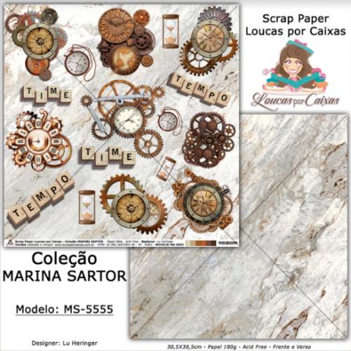 Scrap Paper Dupla Face 30,5x30,5cm MS-5555 - Loucas Por Caixas - Coleção Marina Sartor