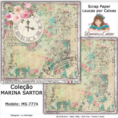 Scrap Paper Dupla Face 30,5x30,5cm MS-7774 - Loucas Por Caixas - Coleção Marina Sartor