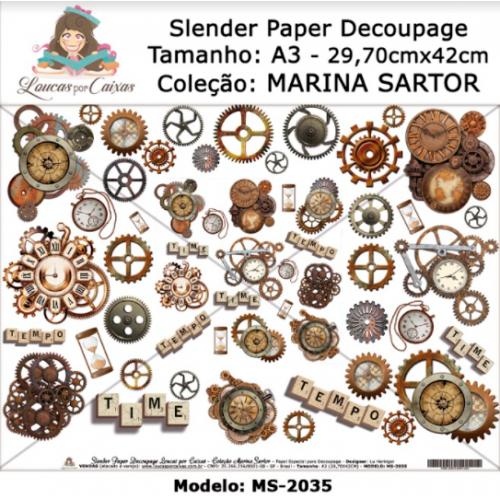 Slender Paper Decoupage A3 MS-2035 - Loucas Por Caixas - Coleção Marina Sartor