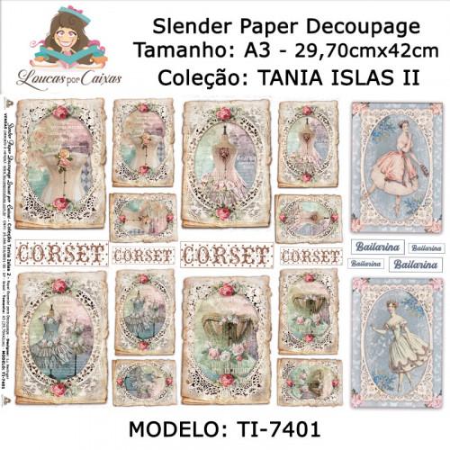 Slender Paper Decoupage A3 TI-7401 - Loucas Por Caixas - Coleção Tania Islas