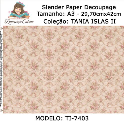 Slender Paper Decoupage A3 TI-7403 - Loucas Por Caixas - Coleção Tania Islas