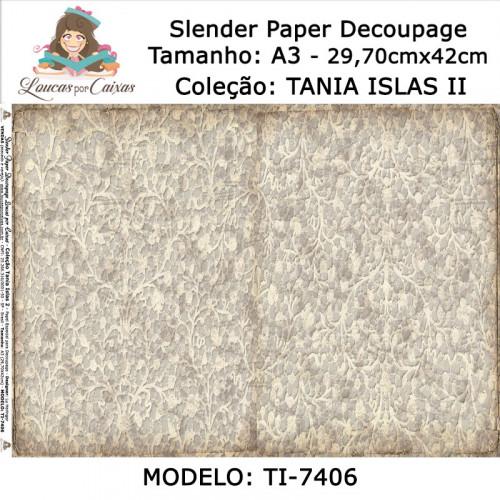 Slender Paper Decoupage A3 TI-7406 - Loucas Por Caixas - Coleção Tania Islas