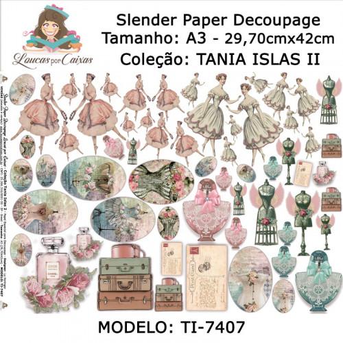 Slender Paper Decoupage A3 TI-7407 - Loucas Por Caixas - Coleção Tania Islas